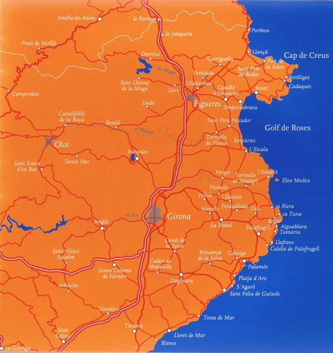 Map of the Costa Brava, Spain